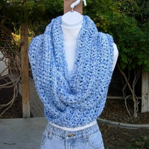 Large Long Wide Blue and White INFINITY SCARF Loop Cowl, Extra Soft Big Crochet Knit Winter Circle Bulky Chunky Neck Wrap, Ready to Ship in 3 to 5 Days