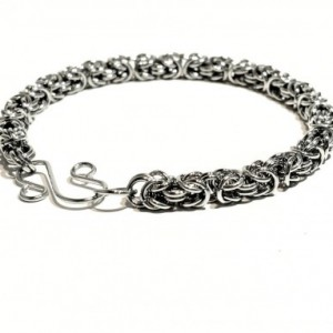 Bracelet or anklet silver byzantine chainmaille