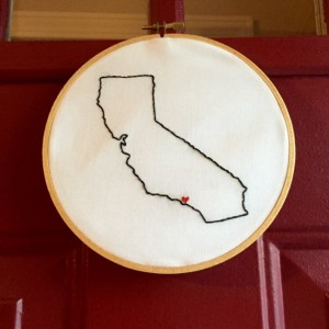 Custom California Embroidery Hoop Art Wall Hanging