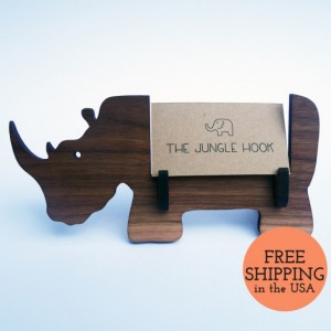 Rhino business card holder for desk