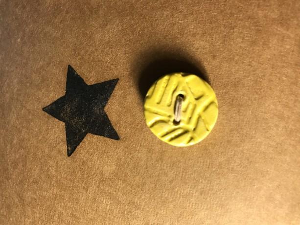 Yellow handmade button
