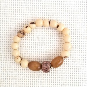 Beaded Beige Bracelet; Beige and Brown Bracelet