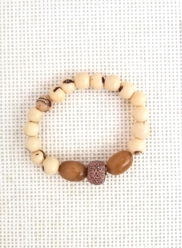 Beaded Beige Bracelet; Beige and Brown Bracelet