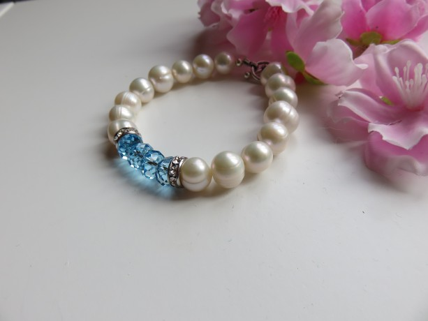 Big Pearls & Aqua Bracelet