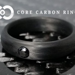 Men's or Women's 100% Carbon Fiber Ring with 3mm diamond solitaire- Handcrafted -Lightweight - Traditional Rounded Band - Custom Band widths