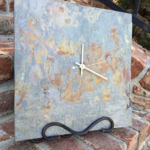 12 x 12 Reclaimed Slate Minimalist Wall Clock Upcycled Repurposed