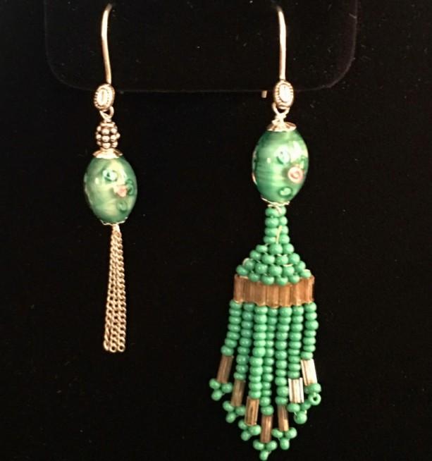 Vintage Sterling  Married Mismatch Orphan Lampwork Glass Earrings Asymmetrical
