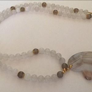 White Quartz Beaded Gemstone Necklace
