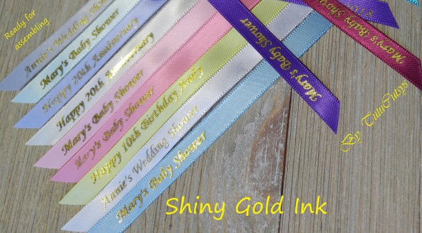 10 Personalized Ribbons with gold ink 3/8 inches wide (unassembled)