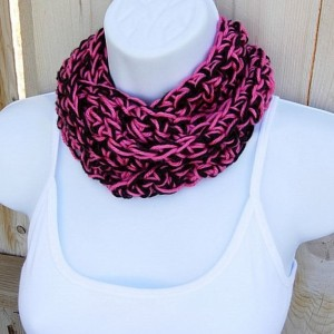 SUMMER SCARF Small Infinity Loop Cowl, Hot Pink & Black, Two Tone, Soft Handmade Crochet Knit Skinny Narrow Circle, Crocheted Necklace..Ready to Ship in 2 Days
