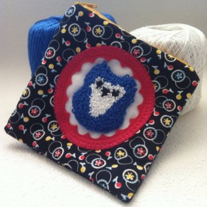 Little blue and white owl zipper pouch with needle punch embroidery