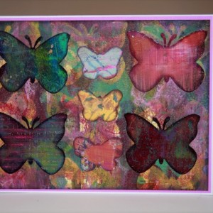 Seven butterflies around square with 2 circles and dots