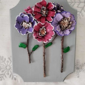 Pinecone floral wall art decor