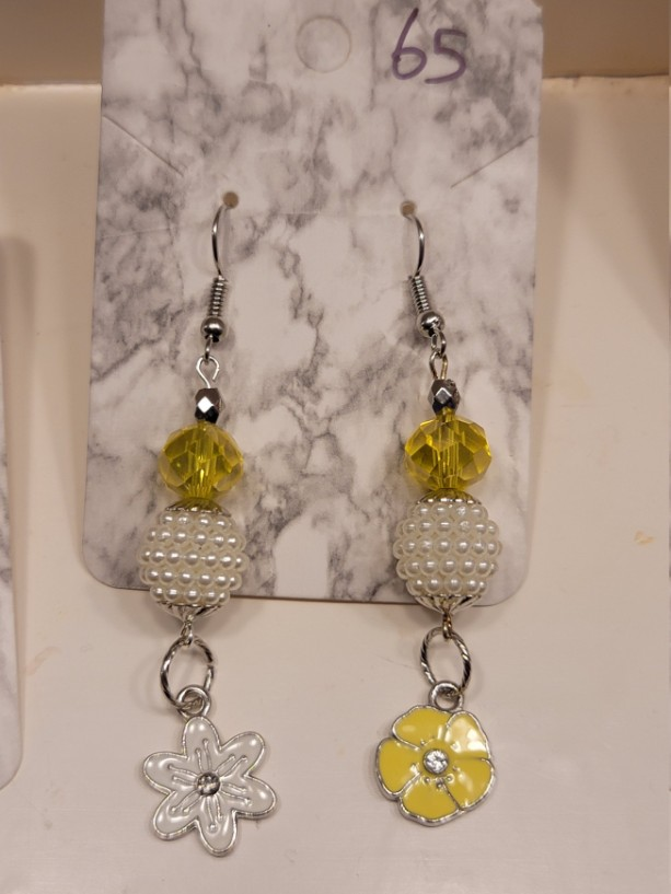 Yellow and white bead with flower charm earrings