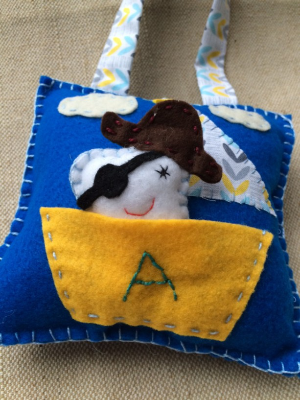 tooth fairy pillow - tooth plush - pirate tooth pillow - personalized gift-gifts for boys - hanging tooth fairy pillow-