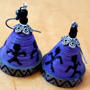 Purple Warli Dome Earrings