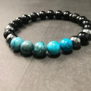 The Myles | handmade beaded stretch bracelet, blue crazy lace jasper, hematite, onyx agate beads, men's / unisex jewelry, Gifts for Him