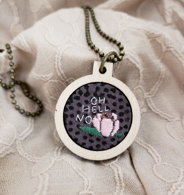 """Oh Hell No"" Embroidered Hoop Necklace"
