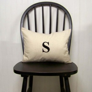 Embroidered Monogram Pillow Cover - size 12x16