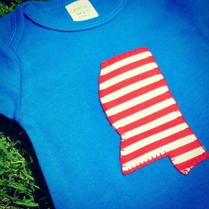 Blue Onesie with Mississippi Applique
