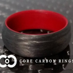 Men's or Women's Carbon Fiber Legacy Ring with red interior- Handcrafted -Lightweight - Black Band with Red interior - Custom Band widths