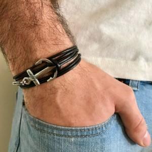 Men Anchor Bracelet - Men Vegan Bracelet - Men Bracelet - Men Jewelry - Sailor Bracelet - Sailing Bracelet - Men Gift - Present For Men