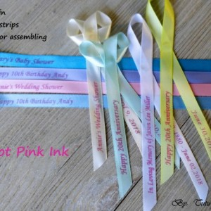 10 Personalized Ribbons with hot pink ink 3/8 inches wide (unassembled)