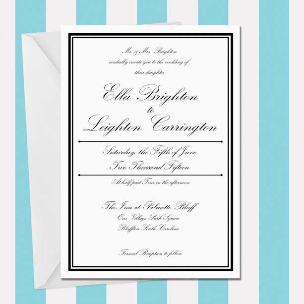 Printable Wedding Invitation , Elegant and Modern , Black and White , Digital Invitation , Customized , Formal and Elegant