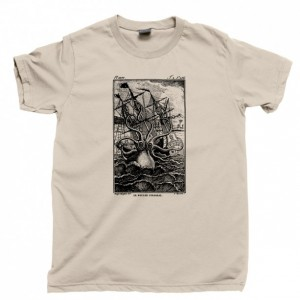 Kraken Attack Men's T Shirt, Giant Squid Octopus Shark Attack Davy Jones Ship Ocean Sea Monster Unisex Cotton Tee Shirt