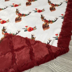 All Minky Baby Blanket Deer Floral Toddler Childrens