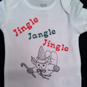 Hand Made Mr. Bingle Baby Onesie
