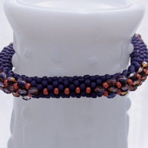 Purple with Orange Square Bead Crochet Bangle