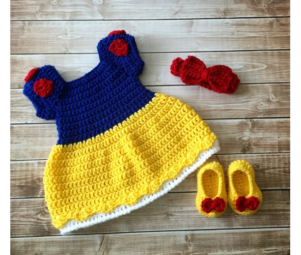 Princess Snow White Inspired Costume/Crochet Princess Snow White Dress/Snow White/Princess Photo Prop- MADE TO ORDER