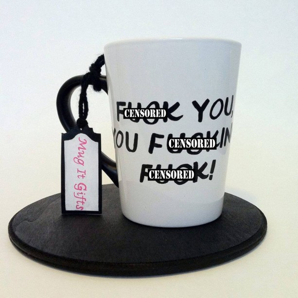 F-ck You You F-cking F-ck Shameless Lip Gallagher Adult Humor Hand Painted 14 oz Coffee Cup Mug