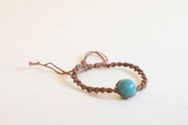 Hemp aqua bead bracelet