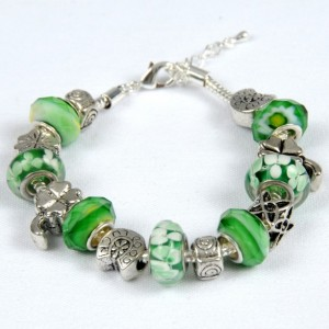 Shamrocks, Horseshoes, Four Leaf Clovers, Irish. Luck Of The Irish Bead Bracelet.