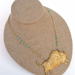 Brass Bison And Turquoise Bead Necklace