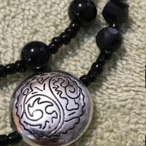 "Resplendent in Ebony & Argent handmade beaded necklace 20"" long"