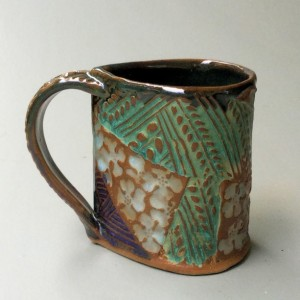 Dogwood Bloom Pottery Coffee Mug Hand Made Hand Built Clay