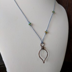 Simple copper leaf pendant necklace