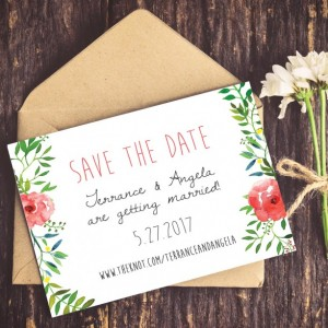 Wedding Save the Date, Save the Date, Rustic Wedding, Watercolor Wreath, Outdoor Wedding, Summer, DIY Wedding, Instant Download