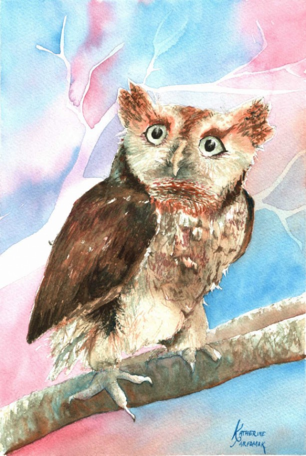 Nippers the Owl Watercolor Print from Original, 5x7