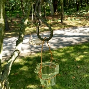 hung glass water/feeder bowls