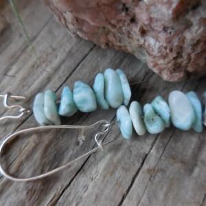 Healing Larimar Gemstone Earrings, Stacked Stone Dangle Earrings, Water element stone, Ocean Beaches, Hammered Metal and Larimar Stones