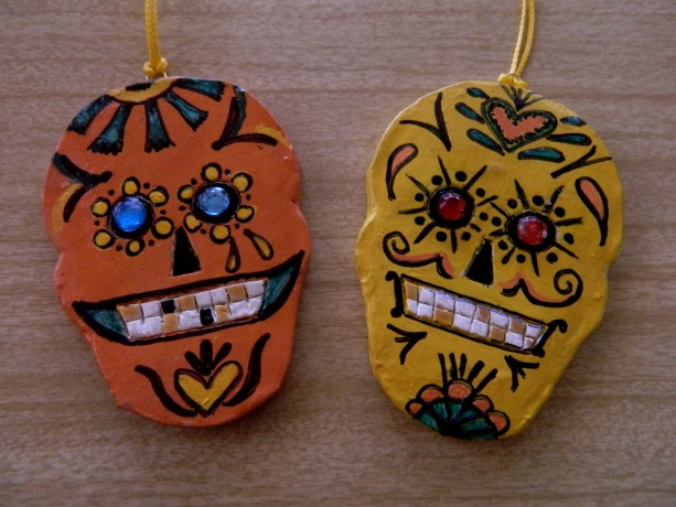 "SUGAR SKULL ORNAMENTS -  ""DAY OF THE DEAD""  Version 1 – SET OF 2, HANDMADE, OOAK"