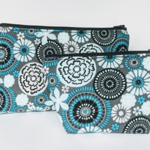 Small Matching Travel Cases, Makeup Bag, Women's Travel Bag, Zipper Bag, Gift under 20