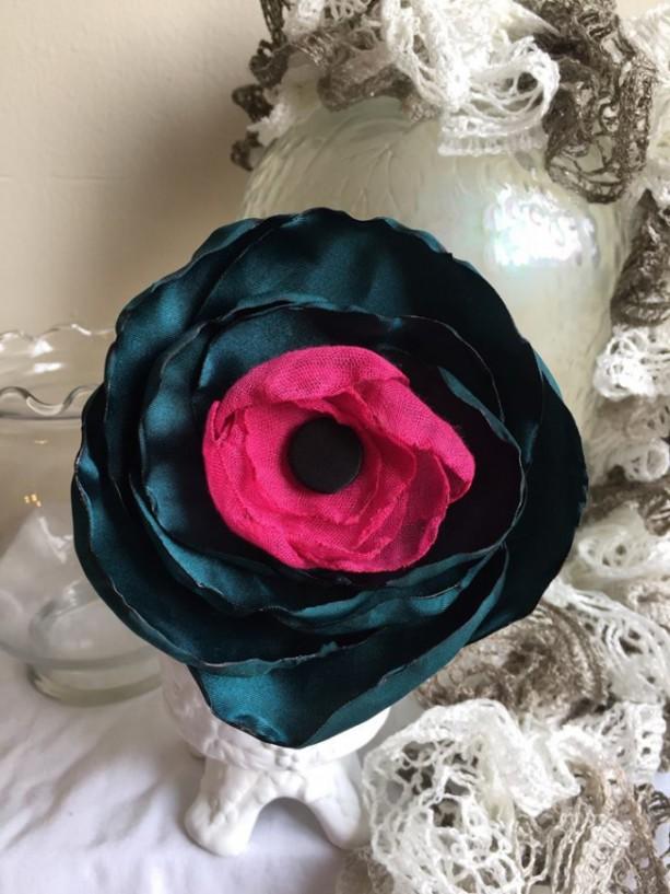 Shabby Chic Dark Floral Statement Pin