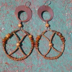 Hoop Copper Beaded Earrings