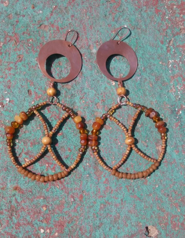 Hoop Copper Beaded Earrings