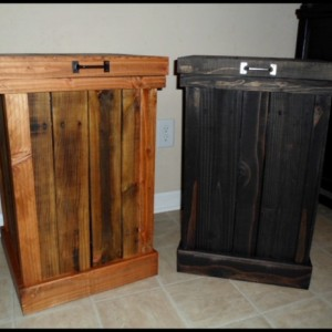Rustic 30 Gallon Wood Trash Can